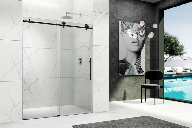 NAPOLI FRAMELESS SHOWER DOOR MATTE BLACK