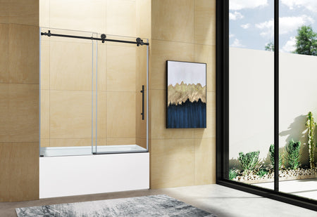 NAPOLI FRAMELESS TUB DOOR MATTE BLACK