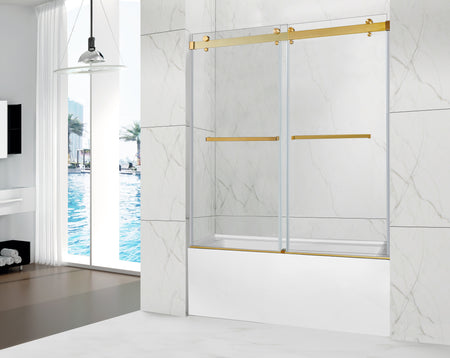 POMPEI FRAMELESS TUB DOOR BRUSHED GOLD