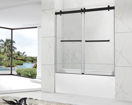 POMPEI FRAMELESS TUB DOOR MATTE BLACK