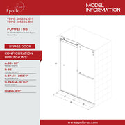POMPEI FRAMELESS TUB DOOR
