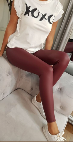 Plain Leggings Burgundy