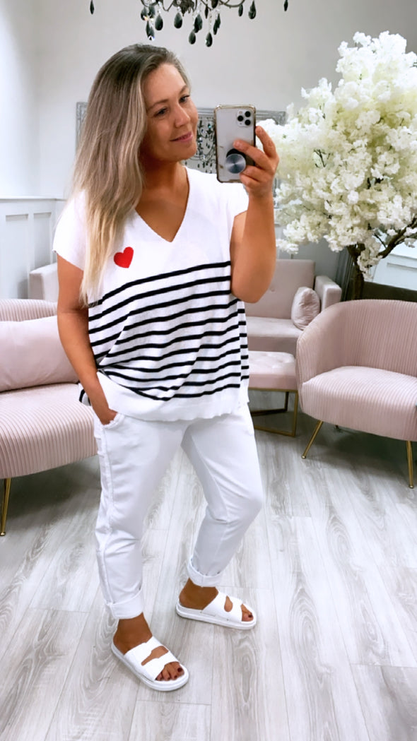 Stripe Heart Top White/Navy