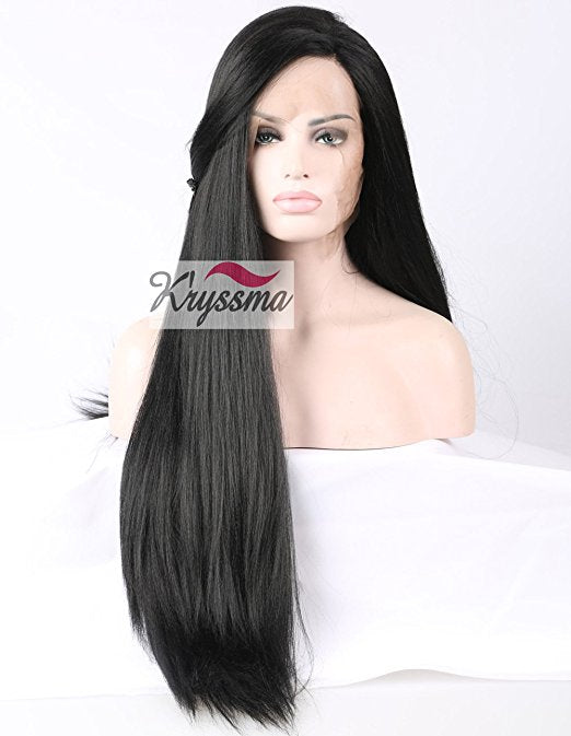 K'ryssma Synthetic Hair Lace Front Wig Natural Looking Long Black Yaki Straight Wigs For African American Women Heat Resistant Replacement Glueless Full Wigs For Halloween Christmas 24 Inches