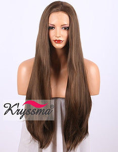 K'ryssma Long Natural Straight Brown Lace Front Wig Half Hand Tied Realistic Looking Glueless Synthetic Wigs for Women 24 inches