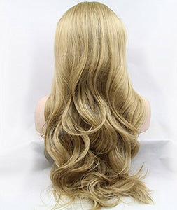 K'ryssma Natural Looking Golden Blonde Glueless Lace Front Wig Long Wavy Half Hand Tied Replacement Synthetic Hair Full Wigs Heat Resistant For Women 22 Inches #24