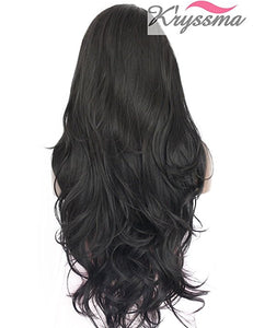 K'ryssma Synthetic Lace Front Wig for Women Natural Wave Long Wigs Heat Resistant Fiber Hair Black #1b 22 Inches