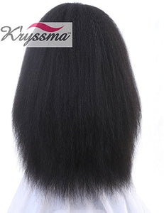 K'ryssma Kinky Straight Synthetic Lace Front Wigs for Women Natural Looking Long Black Fiber Hair Half Hand Tied Heat Resistant Full Wig 22 inch