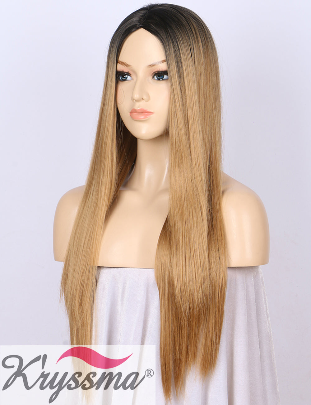 ... K ryssma Ombre Synthetic Wig M03800 - Full Machine Made Long Straight Blonde  Wig Black ... b4490e535c