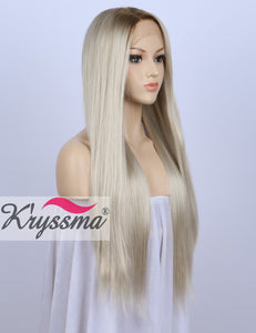 K ryssma Fashion Ombre Blonde Glueless Lace Front Wigs 2 Tone Color Dark  Roots Side 4a723d3c64