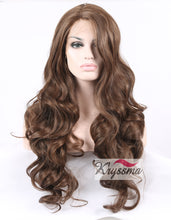 K'ryssma Realistic Wigs for Women Long Brown Body Wave Synthetic Hair Lace Front Wigs for Ladies Half Hand Tied Heat Friendly 24 inches