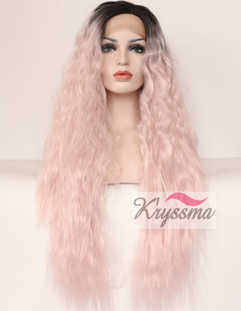 ... K ryssma Ombre Baby Pink Lace Front Wigs for Women Dark Black Roots to  Light ... 1204b72eeb