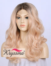 K'ryssma Light Orange Lace Front Wig Ombre Wavy Synthetic Wig for Christmas
