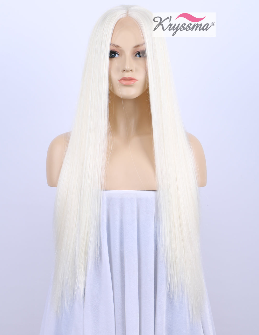 ... K ryssma Chirstmas Platinum Blonde Synthetic Hair Lace Front Wigs For  White Women Silk Straight ... 915785bdc27d