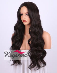 K'ryssma Long Wavy Synthetic Wigs for Women - Natural Looking Dark Wind Red 99j Middle Part None Lace Wig 24 inches