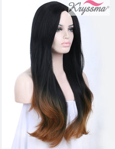 K'ryssma Ombre Brown Long Straight Synthetic Hair Machine Made Wigs 22inches Two Tone Black To Brown Natural Straight None Lace Wig Beautiful Looking Women's Full Wigs Heat Resistant