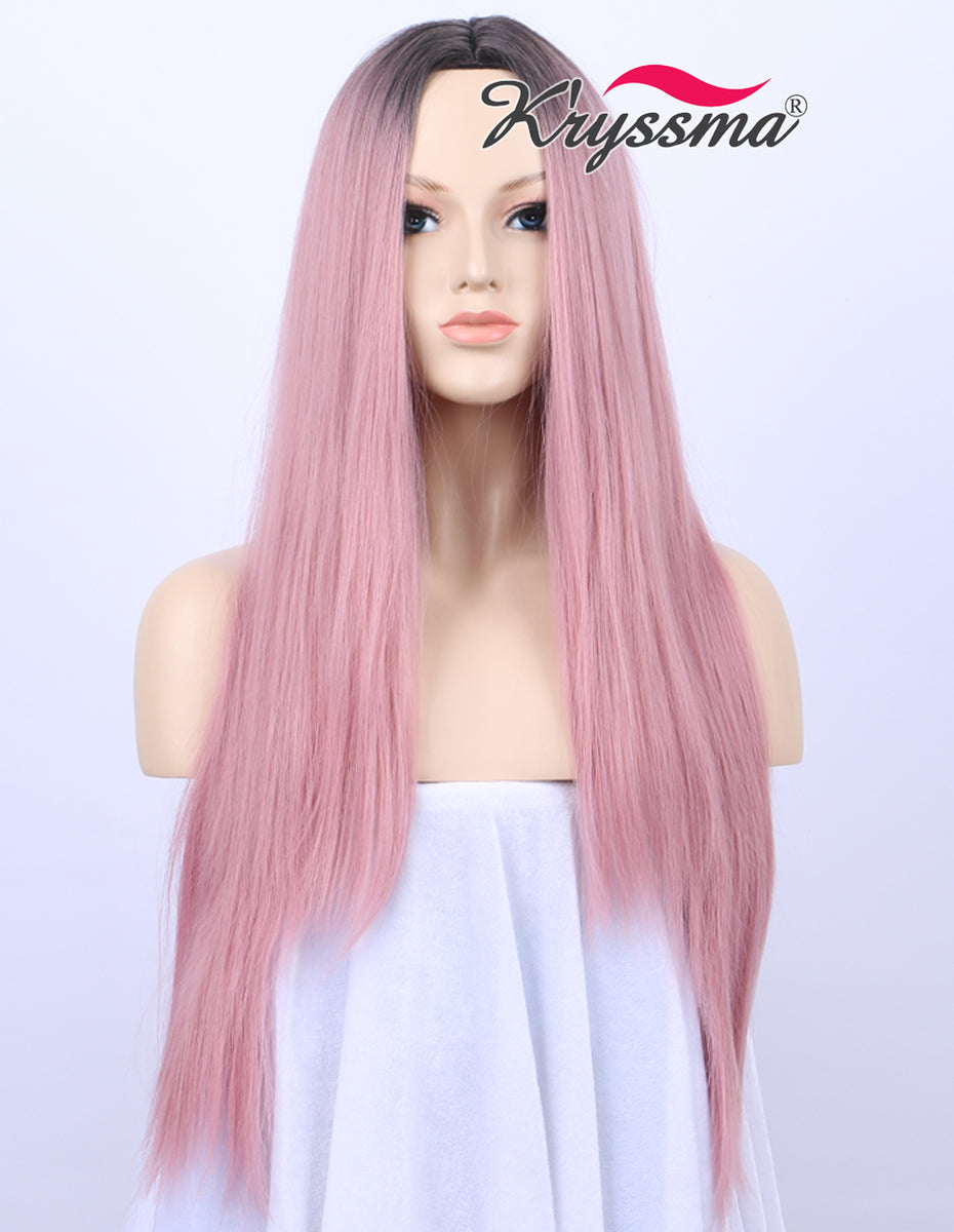 K ryssma Ombre Sweet Baby Pink Dark Roots Glueless Synthetic Wigs For –  kryssmalacewig 1c7d858a79