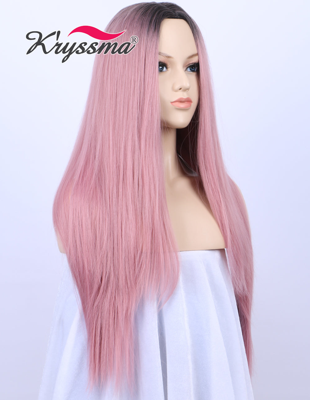 K ryssma Ombre Sweet Baby Pink Dark Roots Glueless Synthetic Wigs For Women  Long Straight ... 7b2322298b
