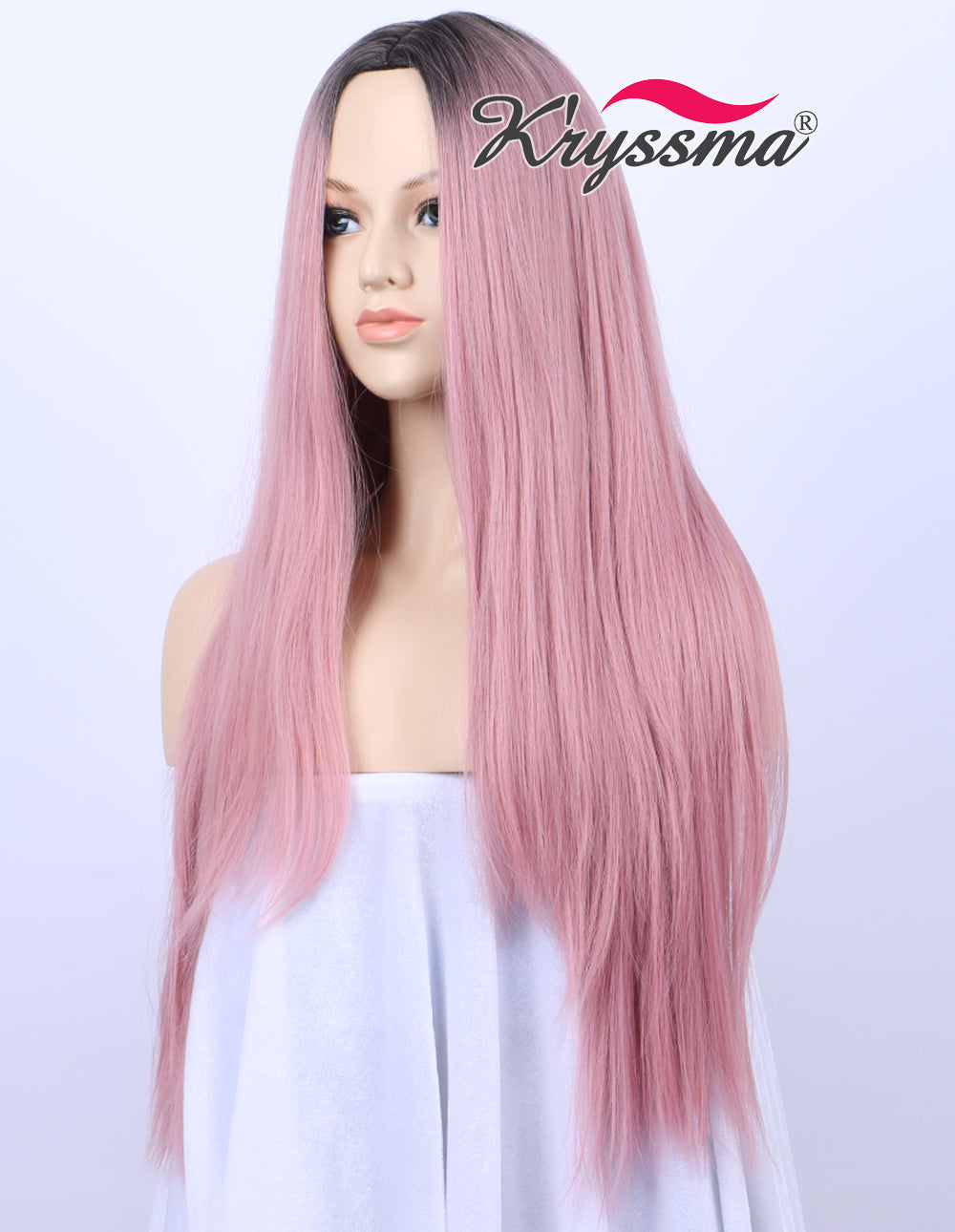 ... K ryssma Ombre Sweet Baby Pink Dark Roots Glueless Synthetic Wigs For  Women Long Straight ... 1739e6484d