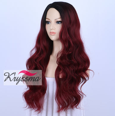 K'ryssma Ombre Wine Red Synthetic Wigs For Women, Burgundy 2 Tones Dark Roots Long Wavy None Lace Wig Heat Resistant 22 Inches