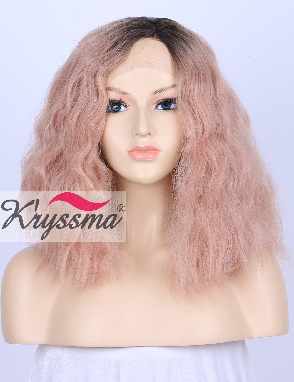 ... K ryssma Short Bob Wavy Lace Front Wigs for White Women Ombre Dark  Roots to ... 31ce82f850