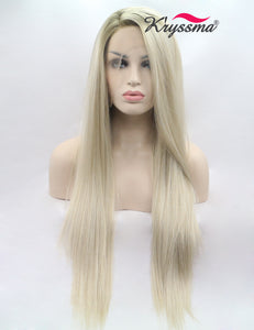 K'ryssma Women's Glueless Blonde Ombre Lace Front Wigs Synthetic,Realistic Looking Side Part Long Straight Dark Roots Mixed Color Heat Resistant Hair Wig For Christmas 24 inches
