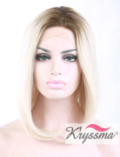 K'ryssma Women's Synthetic Natural Straight Lace Front Short Bob Style Wigs for Women Brown Roots Ombre Blonde Heat Resistant Synthetic Hair