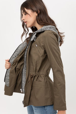 Rachele French Terry layered anorak jacket