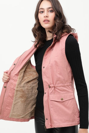 Mandy faux fur lined hooded cargo vest