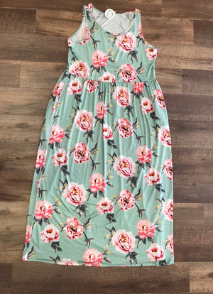 Mint Floral Sleeveless Maxi PLUS