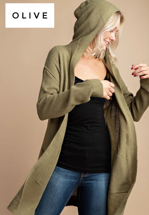 Skylar waffle knit hooded pocket cardigan