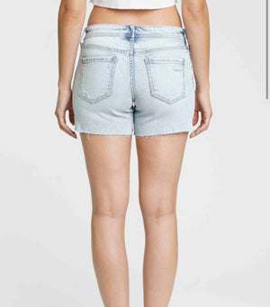 Hang loose light wash denim shorts