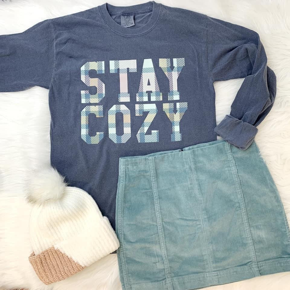 Stay Cozy Plaid Graphic Long Sleeve