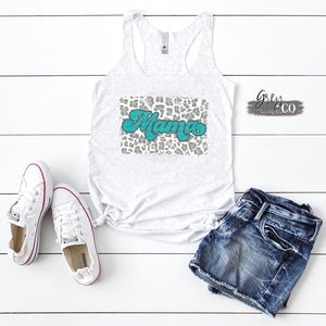 Leopard splash mama tank {Grey + co}