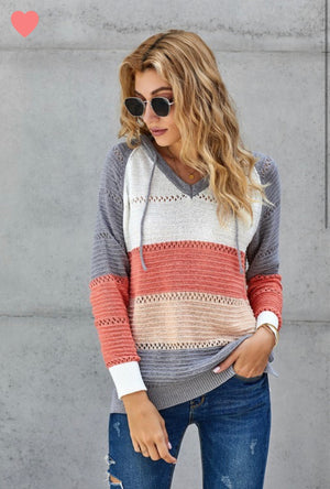 Sunset knit hooded sweater