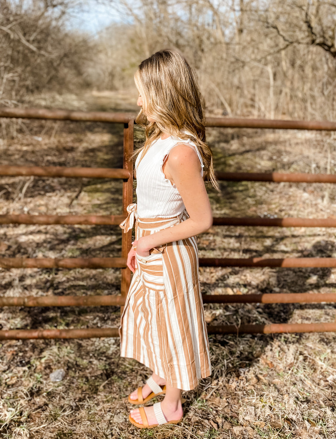Marley Striped Button Skirt