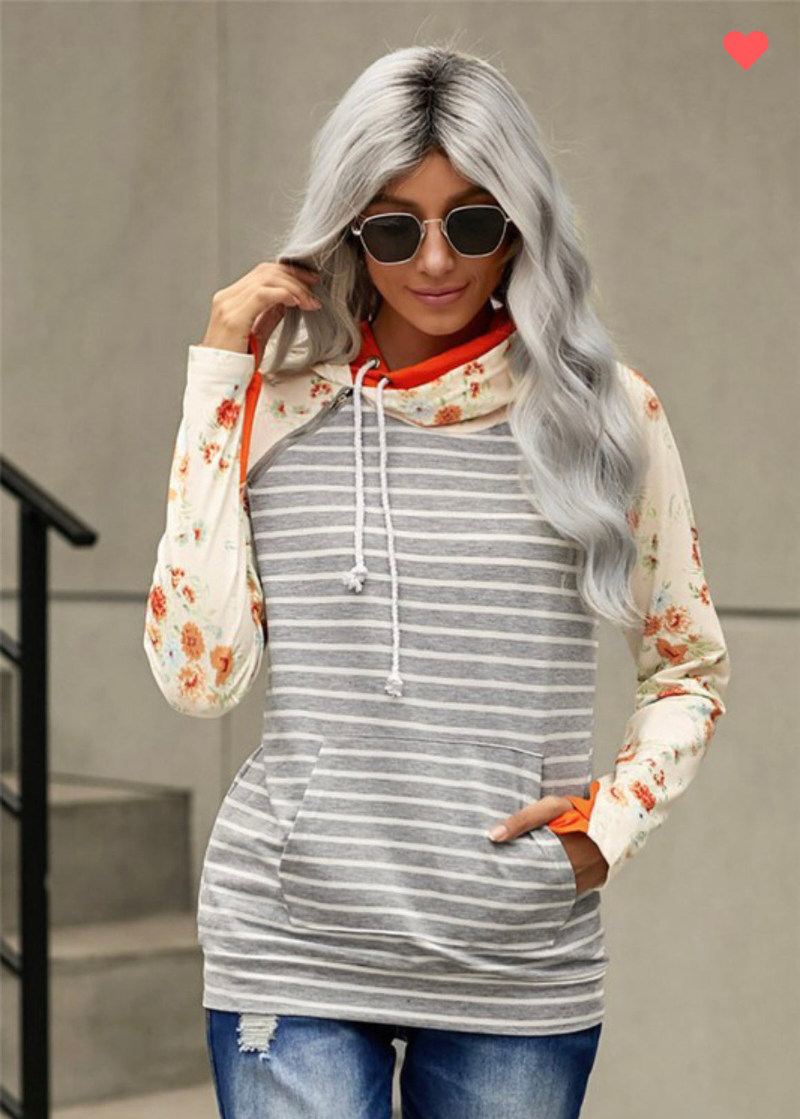 Buttercup Striped/Floral Hoodie