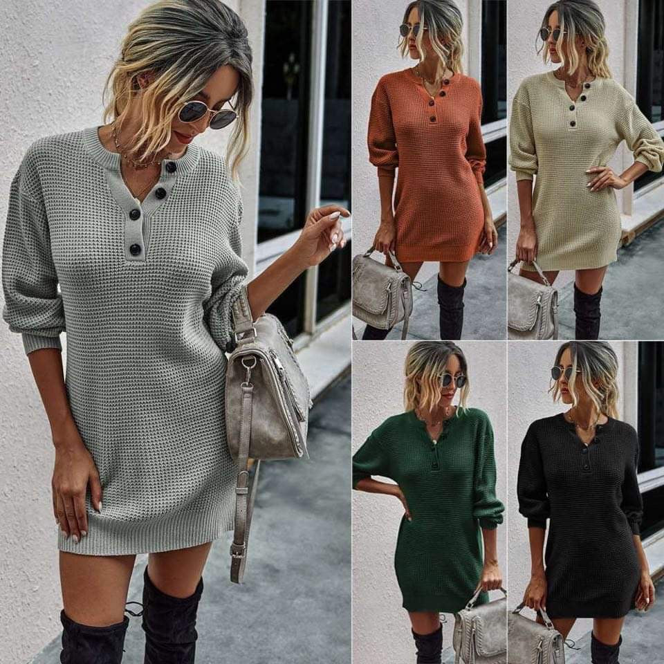 Maple Waffle Henley Sweater Henley Dress