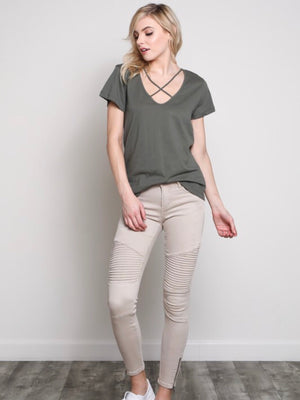 Champagne Moto Jeggings