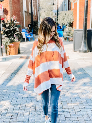 Autumn Sunset Knit Striped Sweater