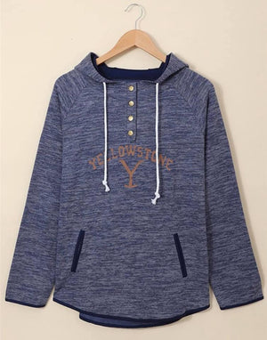 Yellowstone 3/4  Button Down Hoodie