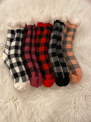 Plaid grip sherpa lined socks