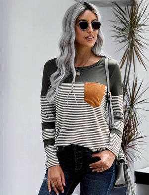Cici striped pocket long sleeve top