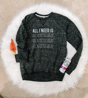 All I need is cocktails heather soft fleece {Grey + co}
