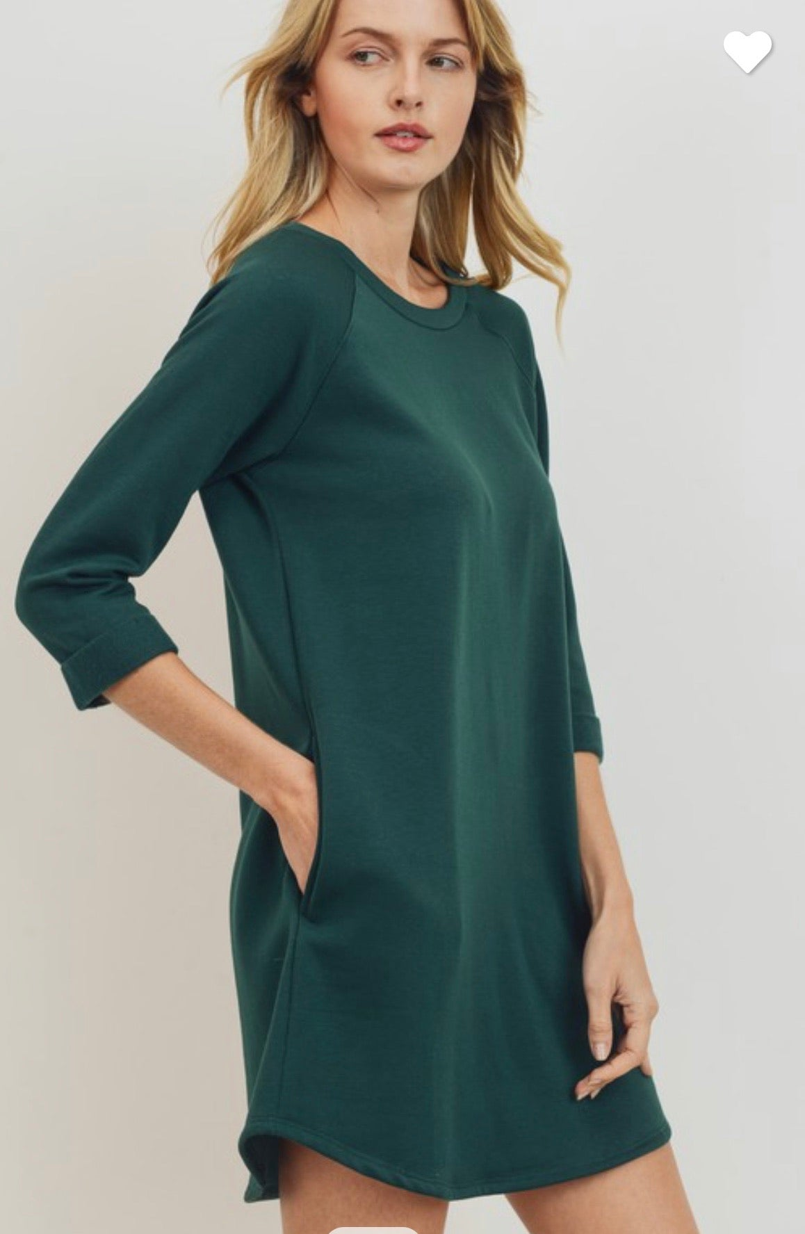 Crisp air 3/4 sleeve French terry dress