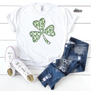 Leopard St. Patty shamrock Tee {Grey + Co.}