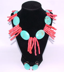 Custom Handmade Turquoise and Coral Necklace with Ear Rings