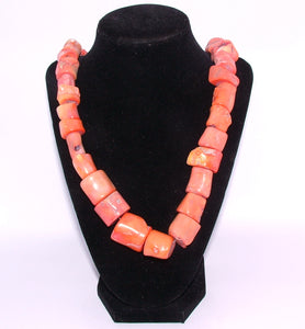 Custom Handmade Coral Cabuchon Necklace