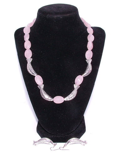 Rose Quartz and sterling silver Fish Necklace with Sterling Silver Fish Ear Rings.