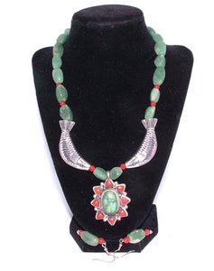 Jade, Coral and Sterling Silver Fish Necklace and Ear Rings